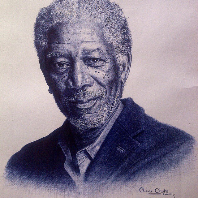 morgan freeman sketched by oscar ukonu