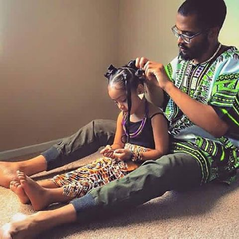 cute daughter and father