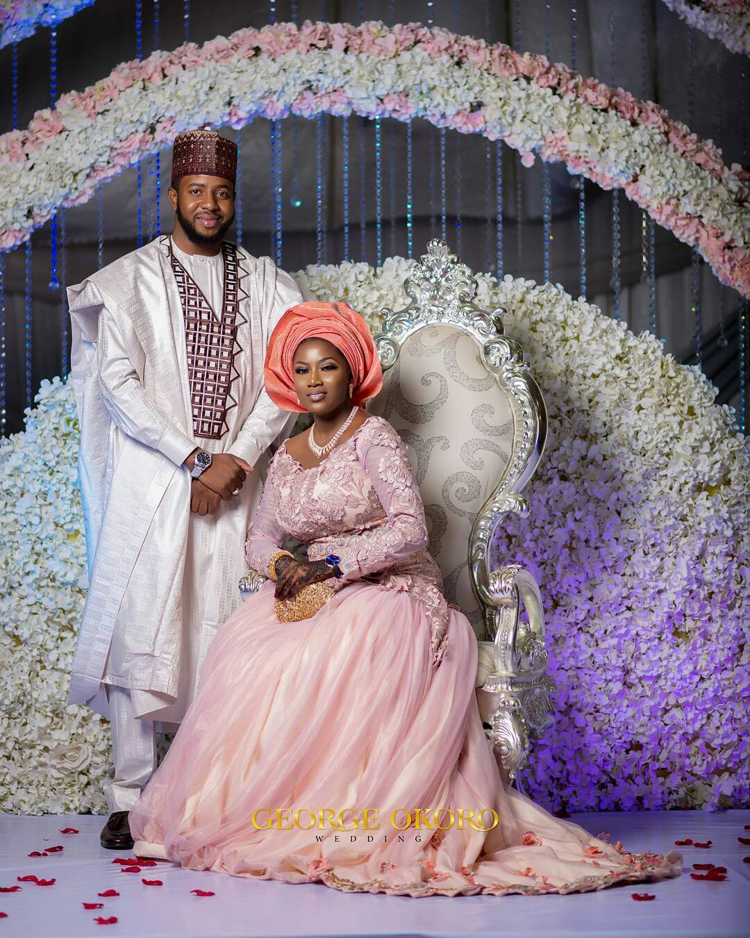 hausa atamfa couple. Groom in hausa traditional agbada in cream and chocolate colors