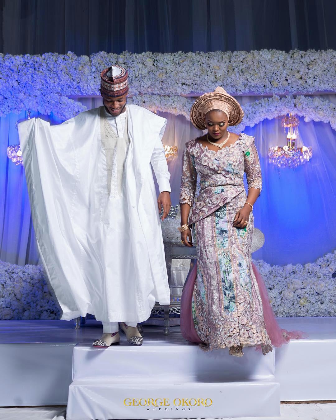 Hausa couple ins white agbada