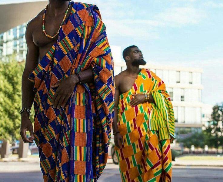 2 ghanian men in Kente Fabric