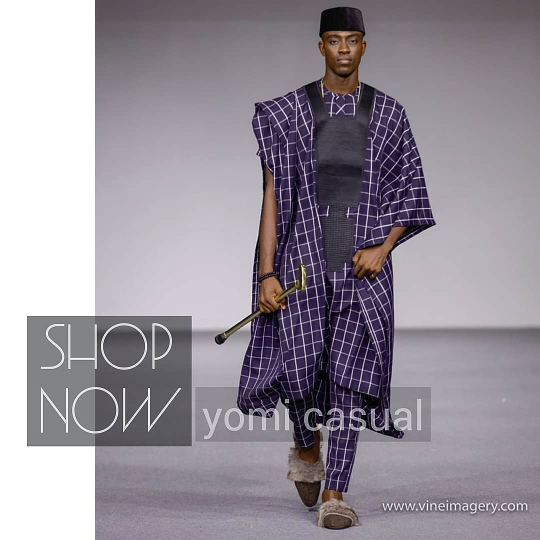 yomi casual stylish agbada style for men on runway